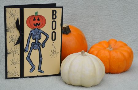 Headless skeleton Halloween card