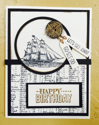 Open Sea Maculine Birthday Card with Embossed Button