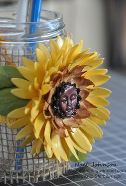 Handmade Paper Sunflower Upcycled Pen Jar